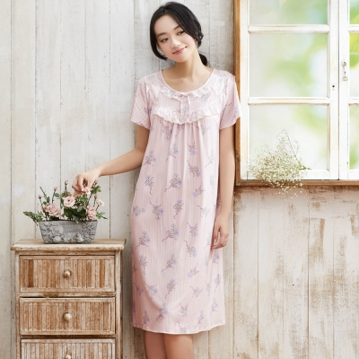 華歌爾睡衣 超柔針織印花 M-L 短袖睡衣裙裝(淺紫)
