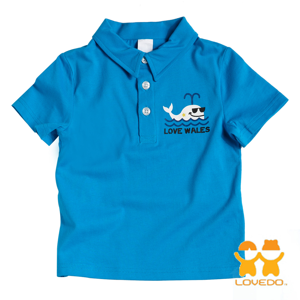 【LOVEDO艾唯多童裝】鯨魚漫步 潮流短袖Polo衫 (藍)