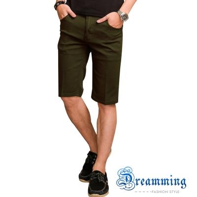 Dreamming 大尺碼格紋膠印口袋伸縮七分褲-軍綠