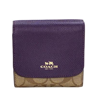 COACH深紫防刮皮革拼接卡其C-Logo三摺多卡短夾