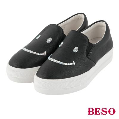 BESO純真年代 閃耀笑臉厚底休閒鞋~黑
