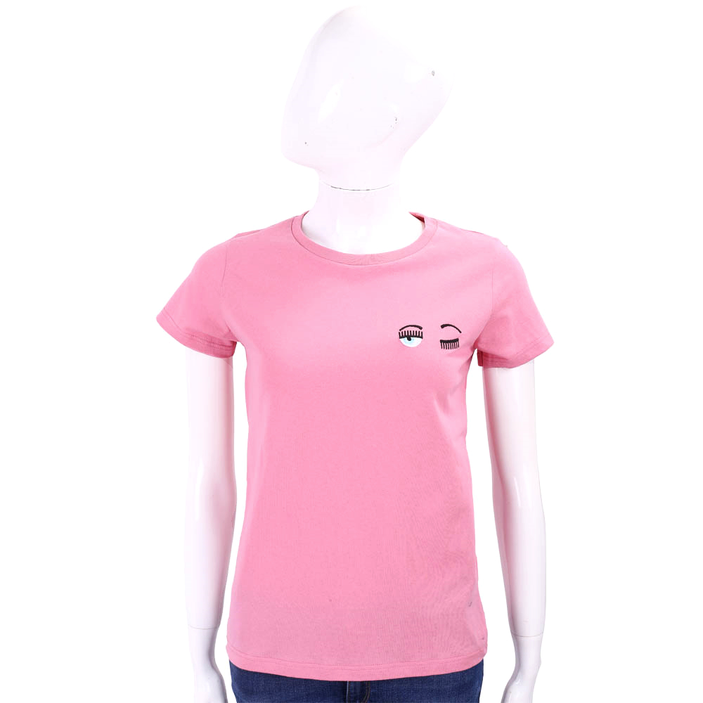 Chiara Ferragni 大童版眨眼刺繡粉色棉質T恤