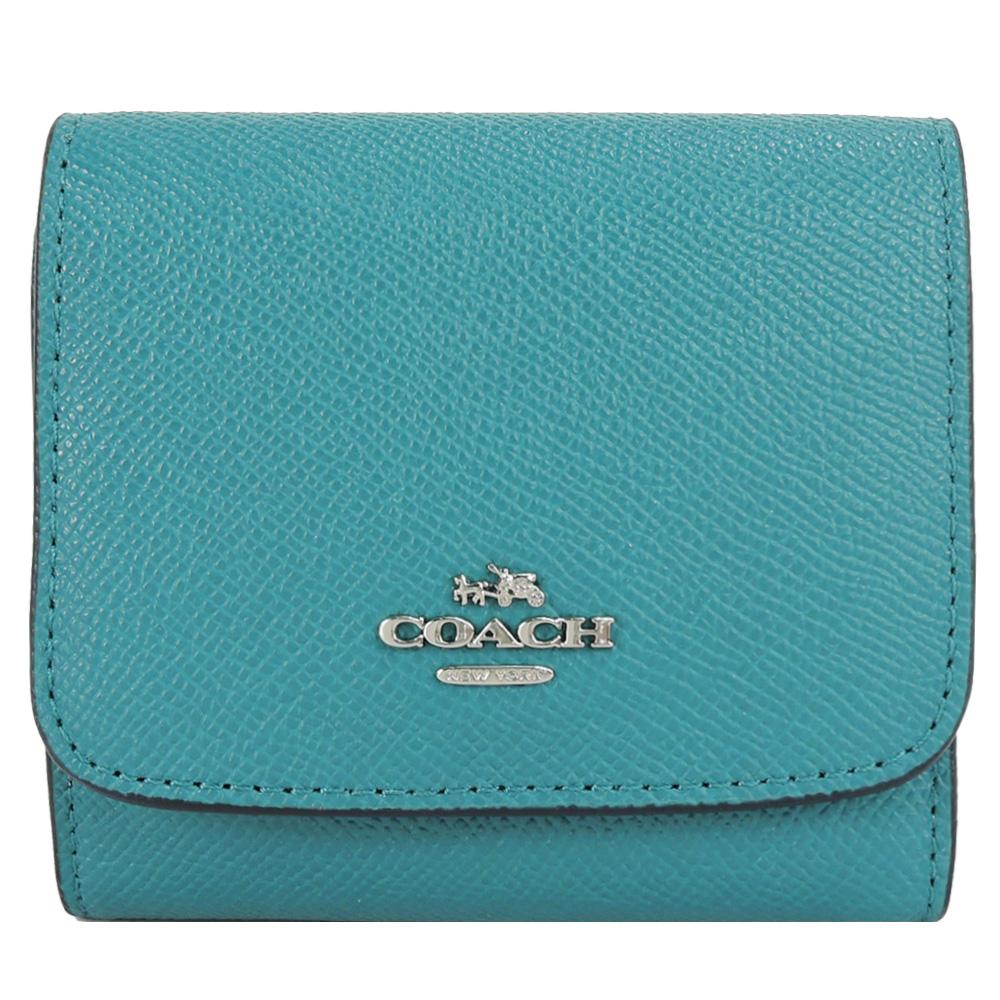 COACH 馬車素面防刮皮革三折短夾(藍綠)