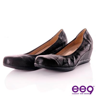 ee9-戀戀燦漾-素面抓皺布羊紋真皮基本款楔型鞋-褶澤黑