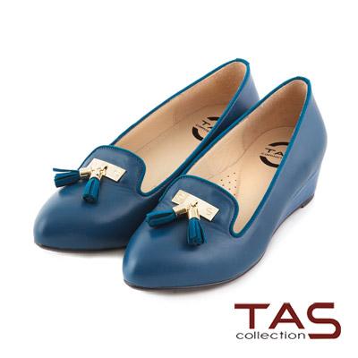 TAS-太妃Q系列-柔軟乳膠經典流蘇楔型娃娃鞋-寶石藍