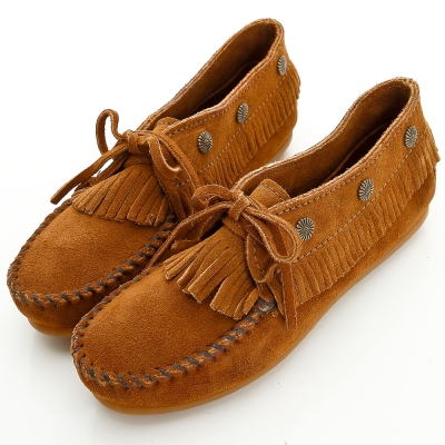 MINNETONKA 個性棕色麂皮流蘇鉚釘短靴 女鞋 (展示品)