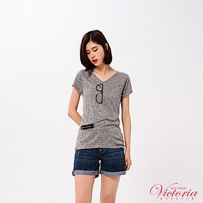 Victoria 裝飾拉鍊鏡片鏡框亮片繡短袖T-女-深灰花紗