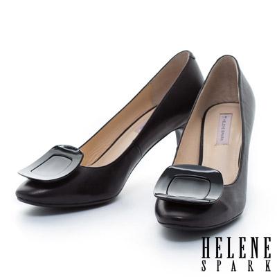 HELENE SPARK 質感烤漆方釦典雅羊皮高跟鞋-黑