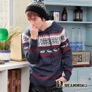 Dreamming 雪花糜鹿混色連帽針織毛衣-共三色