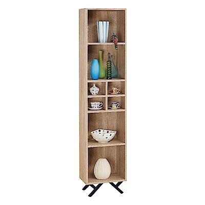 品家居 路易多1.3尺橡木紋開放式書櫃-40x30x180cm免組