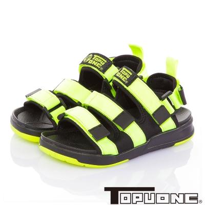 TOPUONE 腳床型輕量減壓可調式運動休閒涼鞋童鞋-綠