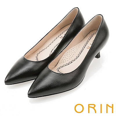 ORIN 優雅大女人 柔軟羊皮素面中跟鞋-黑色