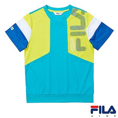 FILA KIDS 童吸濕排汗上衣-藍綠1TES-4400-TG