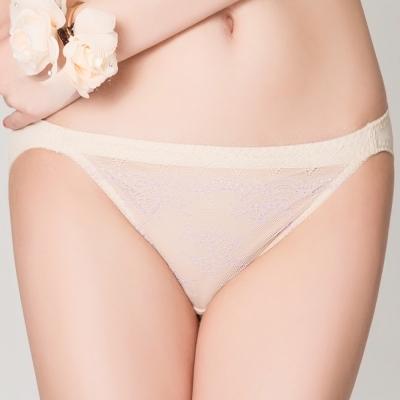思薇爾 花漾柔情系列M-XL蕾絲低腰三角內褲(金赭色)