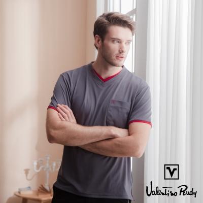 Valentino Rudy 范倫鐵諾.路迪 吸濕排汗冰涼機能T恤衫-鐵灰-雙v口袋