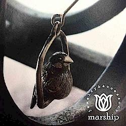 Marship 日本銀飾品牌 鞦韆上的文鳥耳環 925純銀 古董銀款 針式耳環
