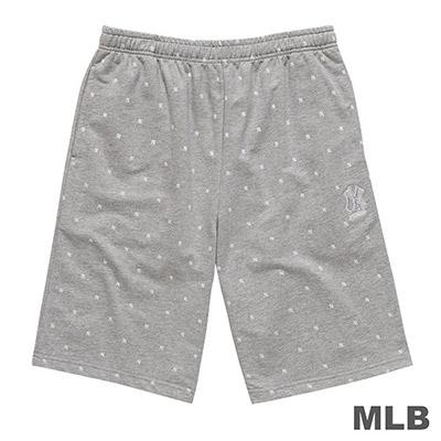 MLB-紐約洋基隊LOGO印繡花棉質短褲-麻灰 (男)