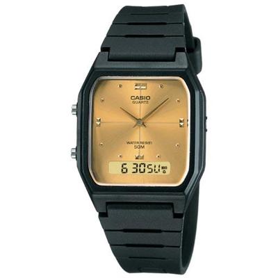 CASIO 經典復古風格商務雙顯錶(AW-48HE-9A)-黑X黃面/34mm