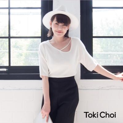 東京著衣 領口造型鏤空短袖針織上衣-S.M(共三色)