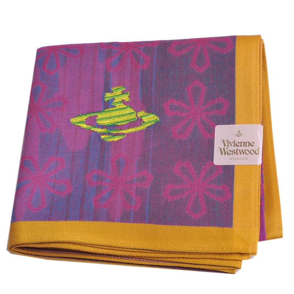 VIVIENNE WESTWOOD 繽紛浮水印小花行星Logo刺繡帕領巾(紫/黃邊)