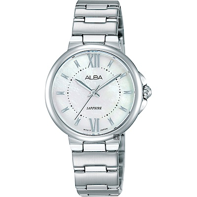 ALBA雅柏 時尚俏女孩石英女錶(AH8451X1)-珍珠貝x銀/30mm