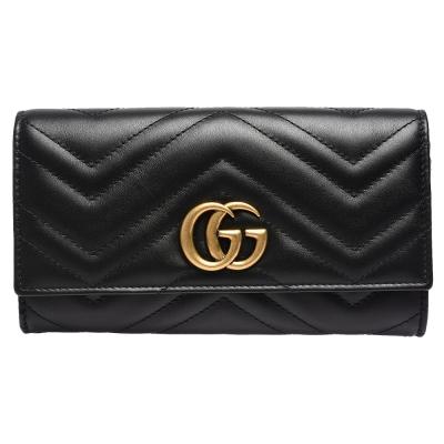 GUCCI GG Marmont絎縫紋牛皮金屬雙G LOGO長夾(黑)