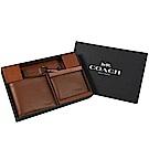 COACH LOGO牛皮附卡片夾層八卡短夾禮盒組(咖)