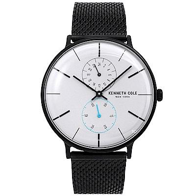 Kenneth Cole 簡約質感雙環米蘭帶手錶-銀X黑/40mm
