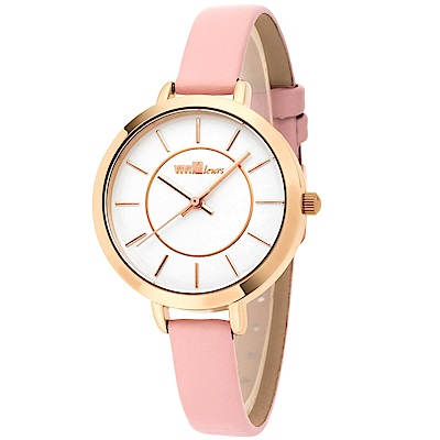 ViVi Fleurs 甜美年代皮革時尚腕錶-粉/33mm