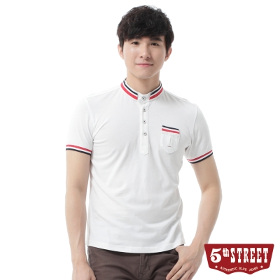 5th STREET POLO衫 簡約伸仕立領POLO衫-男-白色