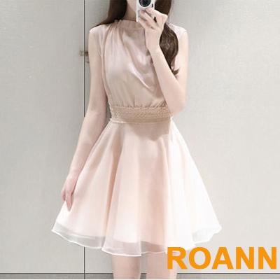 小清新花邊圓領無袖洋裝 (共二色)-ROANN