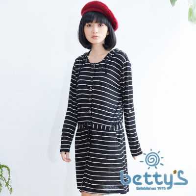 betty's貝蒂思 連帽條紋開釦抽繩洋裝(黑色)