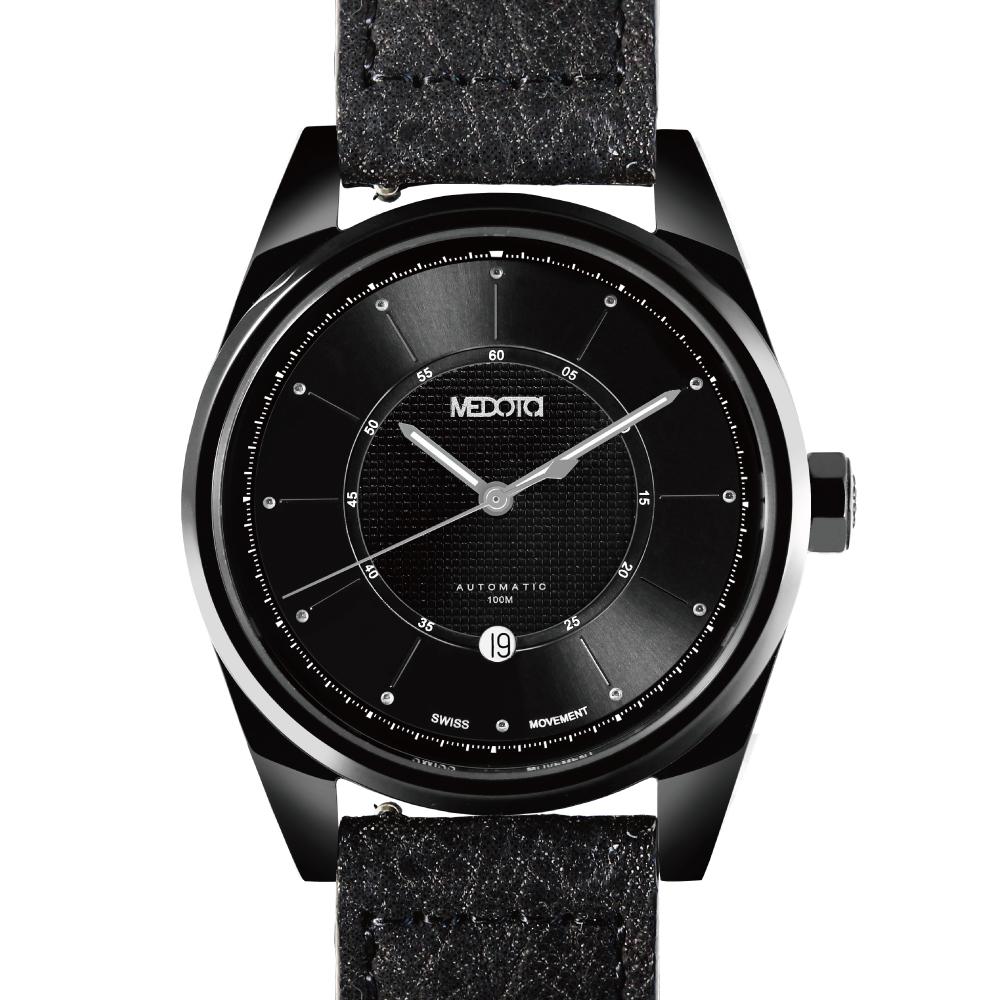 MEDOTA Grancey 伊頓系列 日顯雙層面盤手錶-黑/黑框/48mm