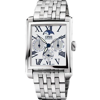 ORIS Rectangular 月相經典機械腕錶-白/33x46mm