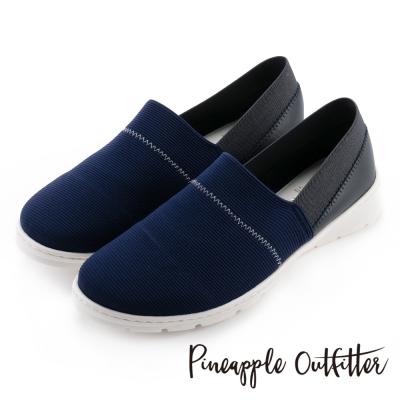 Pineapple Outfitter 輕盈首選  彈性布料拼接牛皮平底休閒鞋-深藍