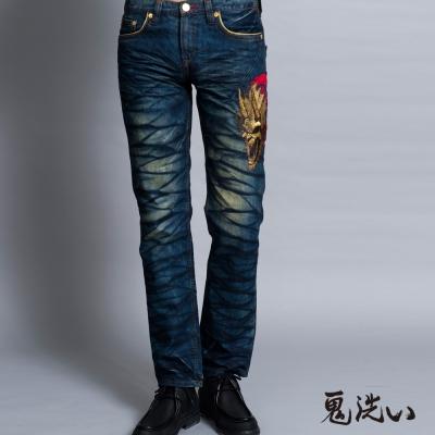鬼洗 BLUE WAY 側爆裂鬼家徽繡印低腰直筒褲