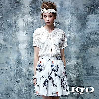 IGD英格麗 都會悠閒風幾何蕾絲開襟外套-白色
