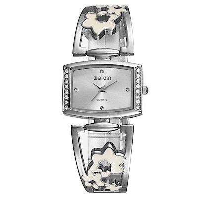 Mirabelle鏤空花漾方型點鑽金屬弧形錶銀白色30mm