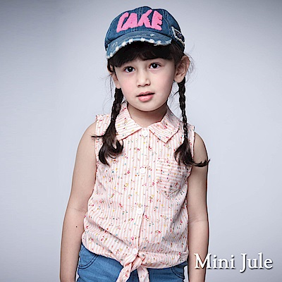 Mini Jule 童裝-襯衫 碎花條紋單口袋綁帶無袖襯衫(桔)