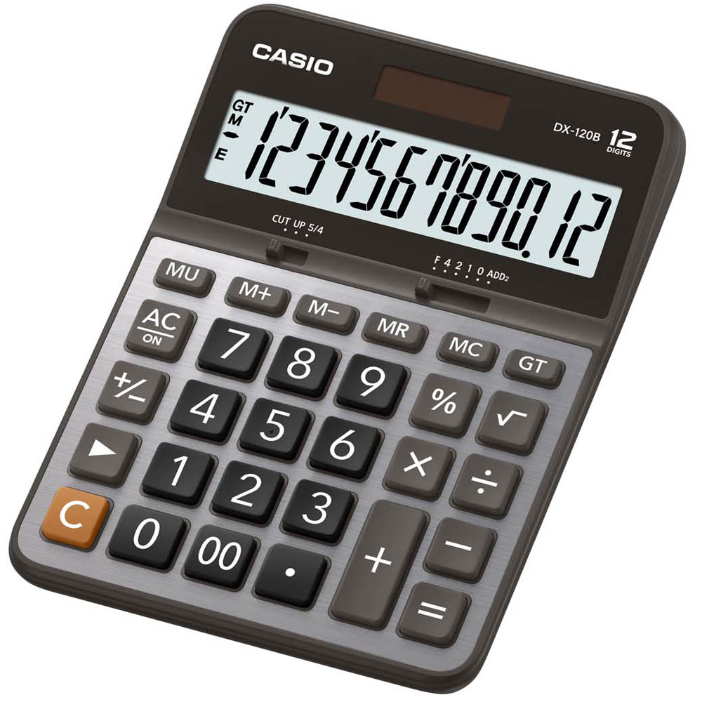 CASIO卡西歐12位元商用計算機-黑灰面(DX-120B)