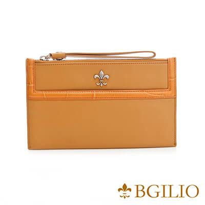 義大利BGilio-NAPPA軟牛皮俏麗拉鍊隨身萬用夾-黃色-1711.301-13