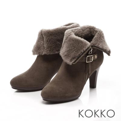 KOKKO -反轉美人2穿式絨毛短靴-質感灰