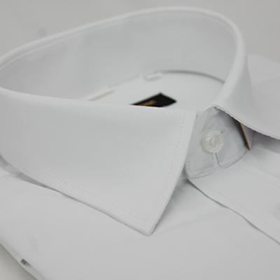 金‧安德森 白色細斜紋窄版短袖襯衫
