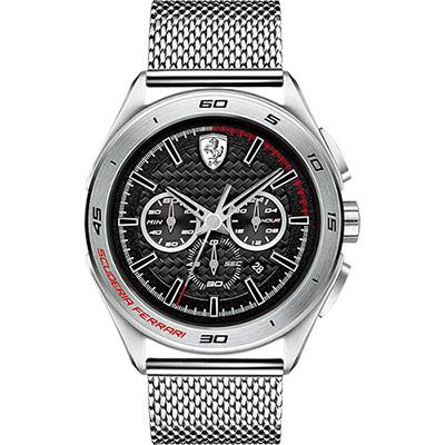Scuderia Ferrari 法拉利 急速三眼計時腕錶-黑x銀/45mm