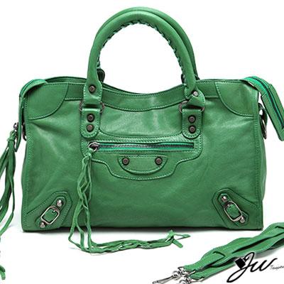 J-W-時尚巴黎-全手感流蘇羊皮機車包-共13色-青草綠