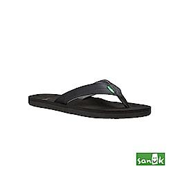 SANUK 瑜珈墊寬版人字拖鞋-男款(黑色)