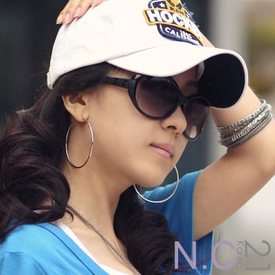 N-C21-簡約時尚質感大圓耳環-銀色