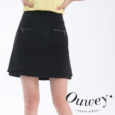 OUWEY歐薇-口袋裝飾拉鏈素色褲裙