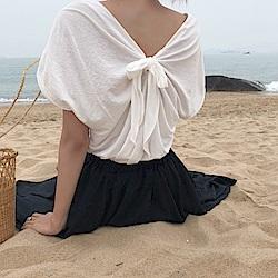 La Belleza後背單綁帶袖反折棉質上衣