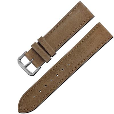 Watchband/ 各品牌通用柔軟簡約質感車線牛皮錶帶- 咖啡色